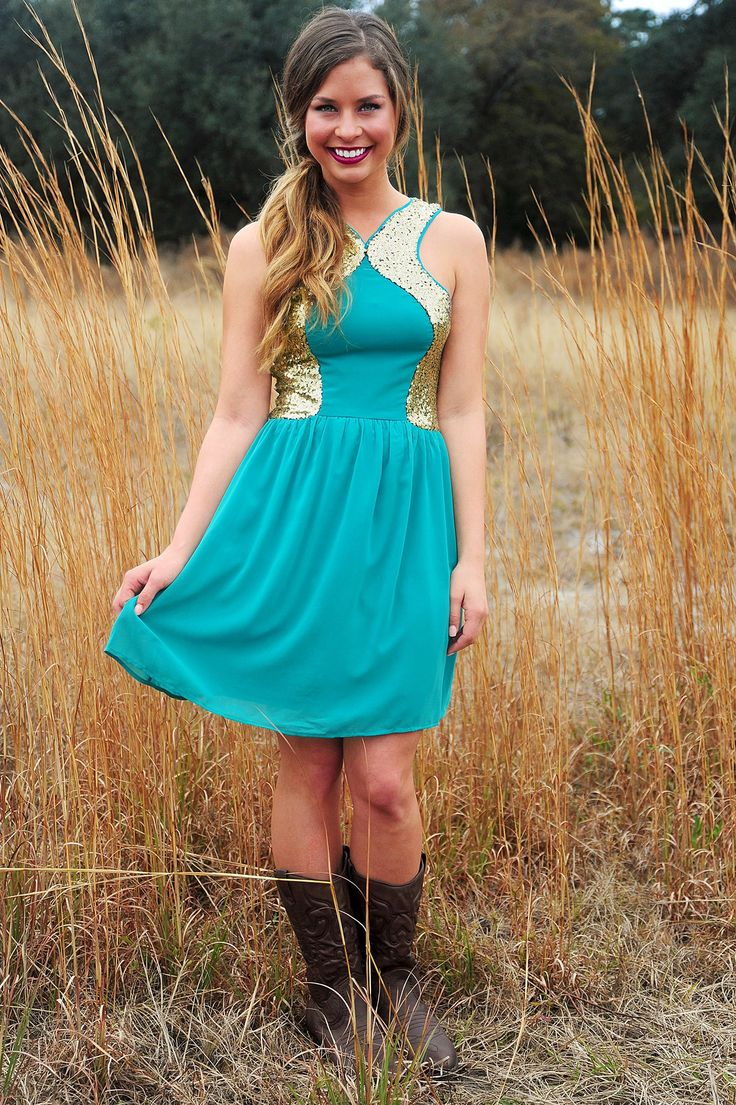 Share to save 10% on  your order instantly!  Feels So Close Dress: Jade/Gold