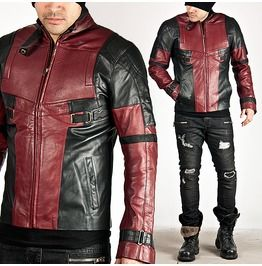 Black And Red Contrast Futuristic Slim Leather Jacket 64