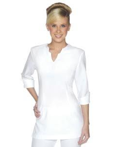 SPA 07 tunic  - White.  3/4 Sleeve tunic, detailed neck line and zips at rear. Available in black and white, easy wash and wear corporate grade fabric. Sizes 6-24.