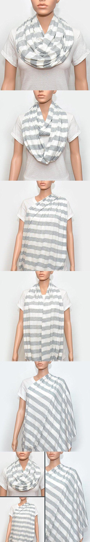 Nursing Scarf - Nursing Cover - Nursing Cover Scarf - Infinity Scarf - Nursing Infinity Scarf (Grey Stripes)