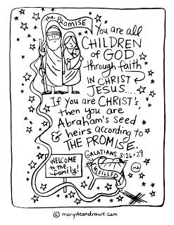 the promise to Abraham Galatians 3:26 + 29 Bible verse coloring page