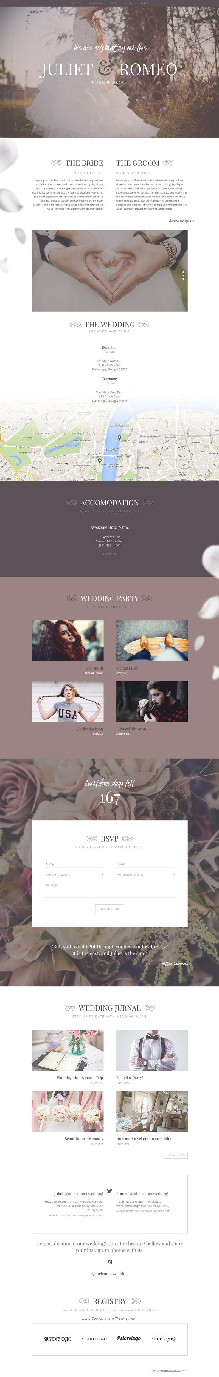 Juliet is stylish premium #HTML5 for Ceremony & #Wedding #website with 10 color scheme. Download Now!