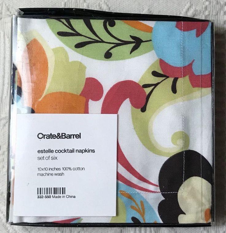 """Crate & Barrel Estelle Cocktail Napkins Set of 6 Floral Pattern 10"""" Square New    eBay"""