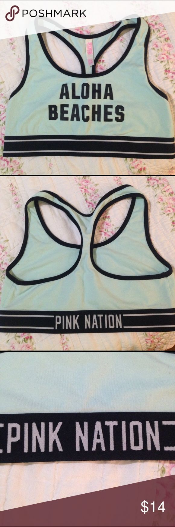 "Victoria Secret PINK racer back bra PINK ""ALOHA BEACHES"" mint green racer back bra. Limited edition. Size Medium. In new condition PINK Victoria's Secret Intimates & Sleepwear Bras"
