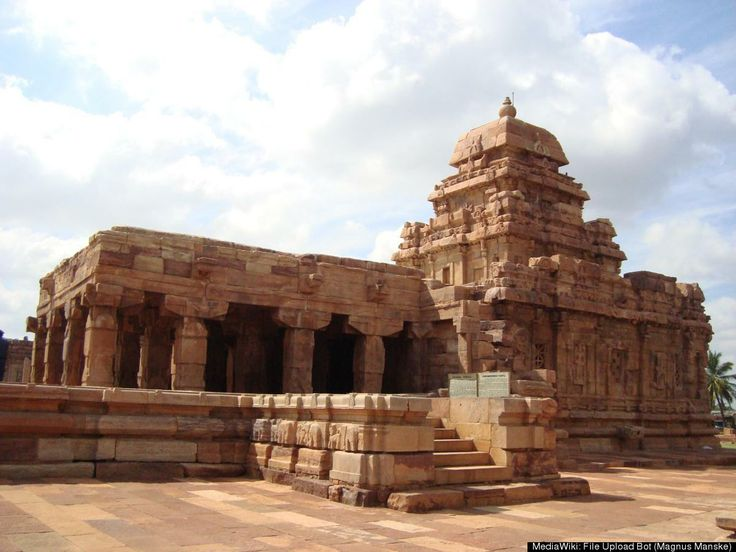The Sangameshwara Temple in the village of Pattadakal, India is part of a group of monuments in Pattadakal, which was declared a World Heritage Site in 1987. These temples were built by the Chalukya dynasty in the 8th century and include a mixture of south and north Indian temple architecture styles. The Sangameshwara temple is dedicated to Shiva.
