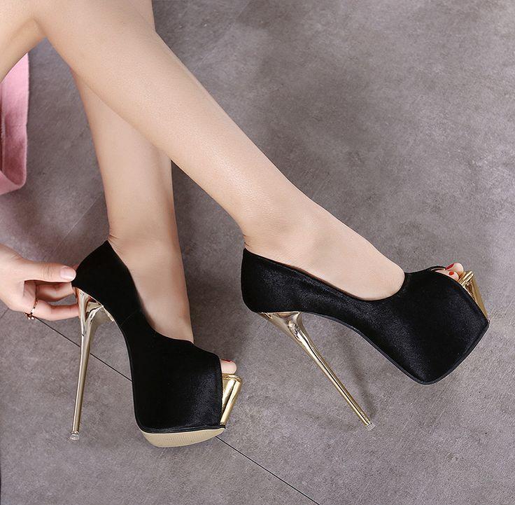 2016 женщин тонкие высокие каблуки 16 см каблуки peep toe мател насосы с платформы способа сексуальные женские дизайнерские сандалии женщин насосы обувь купить на AliExpress