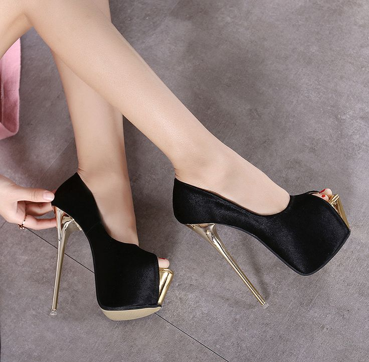 >> Click to Buy << 2016 women thin high heels 16cm heels matel peep toe pumps with platform fashion sexy female designer sandals women pumps shoes #Affiliate