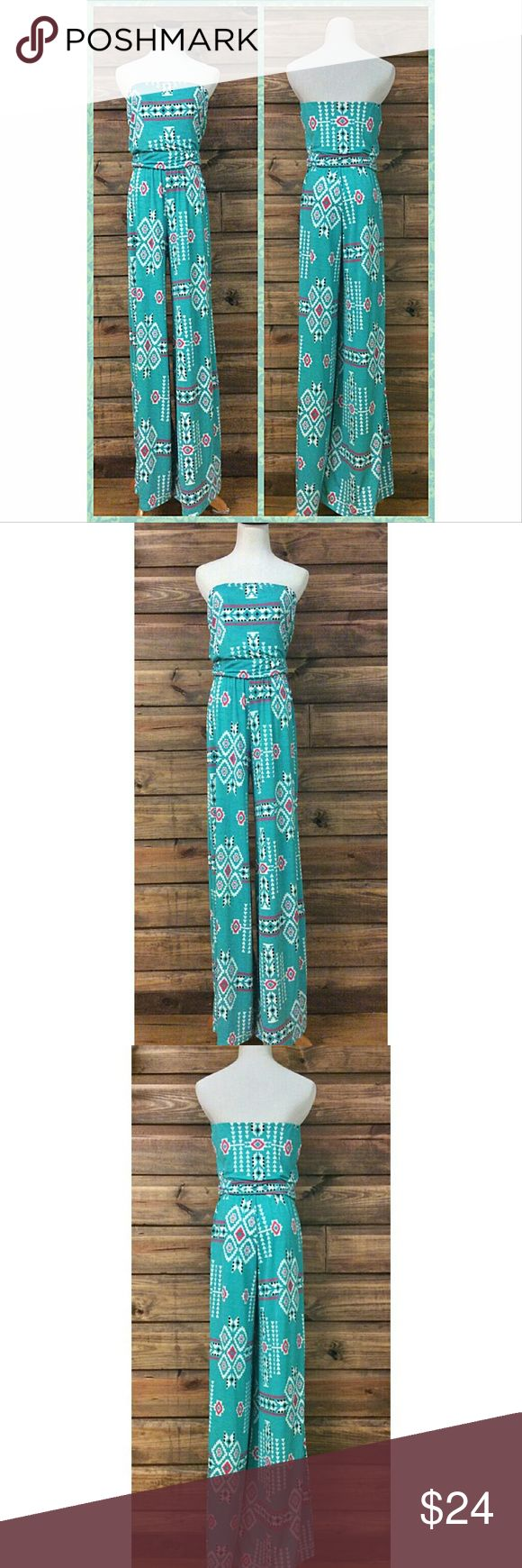 """NWOT Unique Aztec Jumpsuit Features banded waist for ultra-flattering fit.  Waist 15"""" Inseam 34"""". Bust 17"""" (with room for 2"""" additional stretch).  Material 95% Polyester, 5% Spandex. Boutique Pants Jumpsuits & Rompers"""