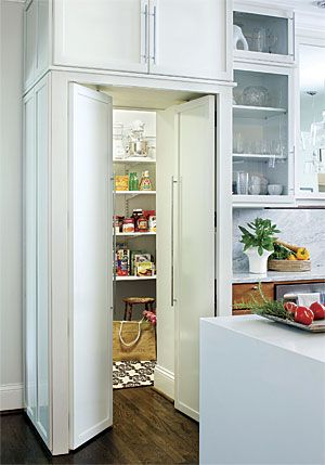 Great Ideas: A Pantry That Blends into the Cabinetry.  I would do away with my bar and overhead cabinets and replace with this.