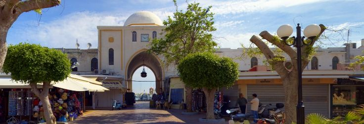Rhodes. The Nea Agora market. Panoramic photo 360.