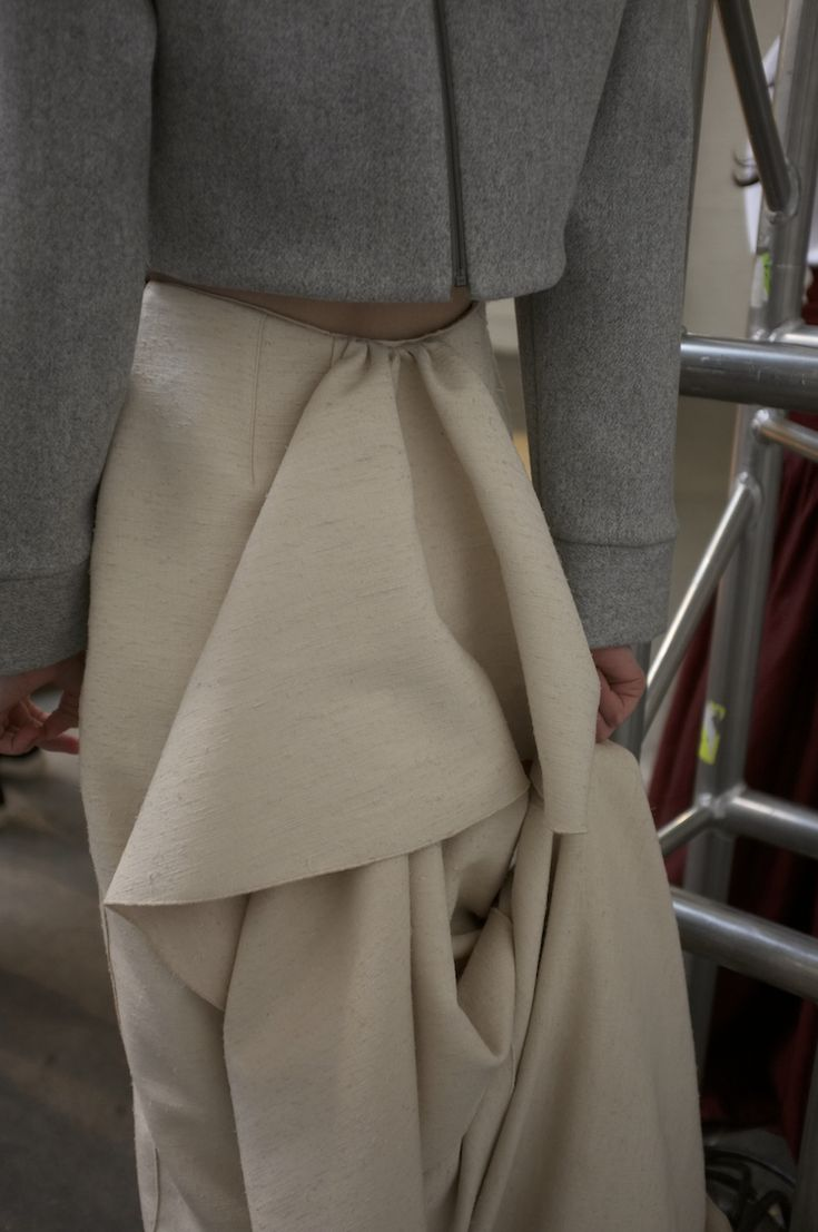 Heavy silk skirt with draped back - garment design detail; sewing; pattern making; fabric manipulation // Rosie Assoulin