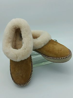 UGG Womens Wrin Moccasins Suede Water Resistant Slipper 11 Chestnut Lambswool