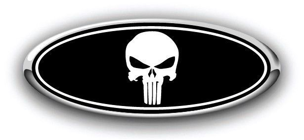 Ford Overlay Emblem Decal Punisher Flat Black/Chrome Grille Fits Many Models