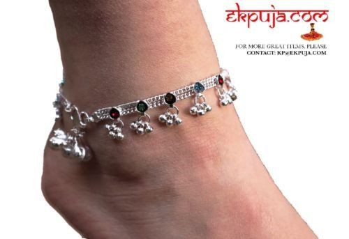 Pair of heavy bell silver tone/ polished Traditional anklets / Indian payal Pair