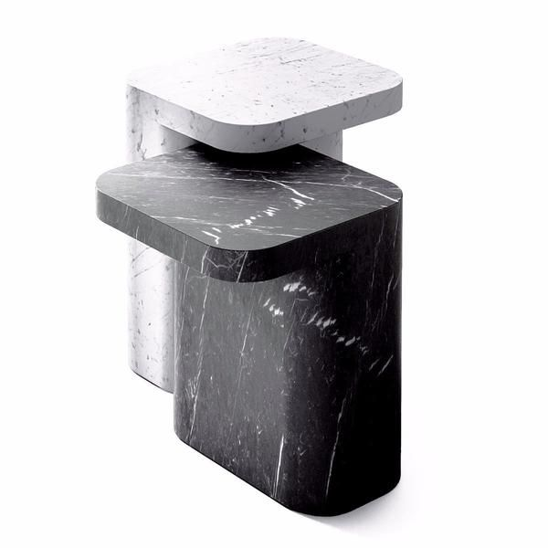 The sculptural Petra side table by Jean Louis Iratzoki for Retegui is a piece of modern art. The exquisite design is offered in five stunning marble varieties and two sizes.