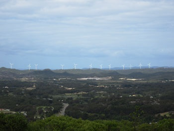 The Albany Wind Farm from Albany City Centre (atop Mount Clarence)