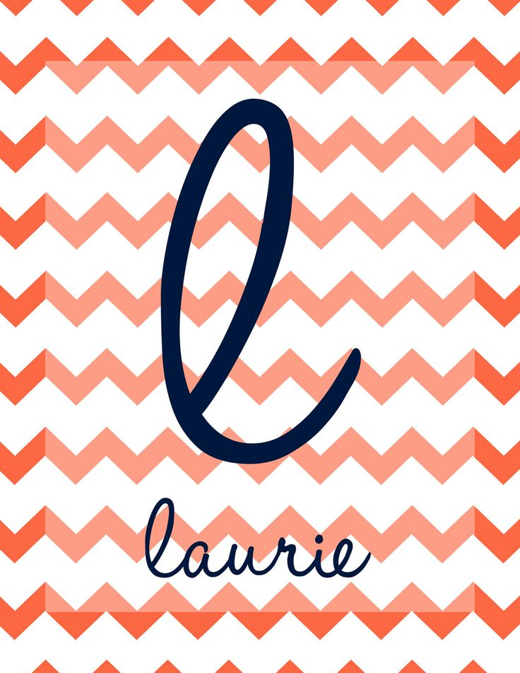 Personalized Custom Wall Art Print by Laurel Tree Lane - Chevron Zig Zag Initial Monogram Letter Last First Name Baby Kids Children Child Newborn Family Pets Wedding Shower Gift Mom Mother Women Woman Typography Word Font Handwritten Handwriting Quote Soft Color Colors Colorful Coral Paprika Orange Tomato Blue Cobalt Navy Mid-Century Modern Mod Trendy Transitional Traditional Inspirational Fun Bright Cool Pretty Beautiful Fabulous Decor Decorating Interior Design Room Wall Frame