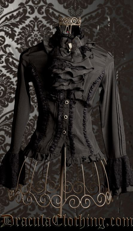 Gothic Lolita Aristocrat Blouse, Black with Cravat. From Dracula Clothing | http://draculaclothing.com/product_info.php?ref=58_id=1318