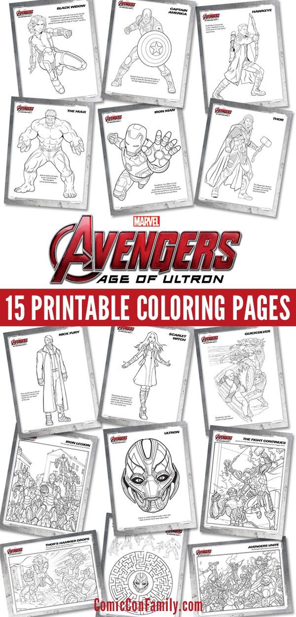 Do your kids love The Avengers? Print these FREE kids printables: Marvel's The Avengers: Age of Ultron coloring pages! 15 pages in all -- pick your favorite character or print them all.