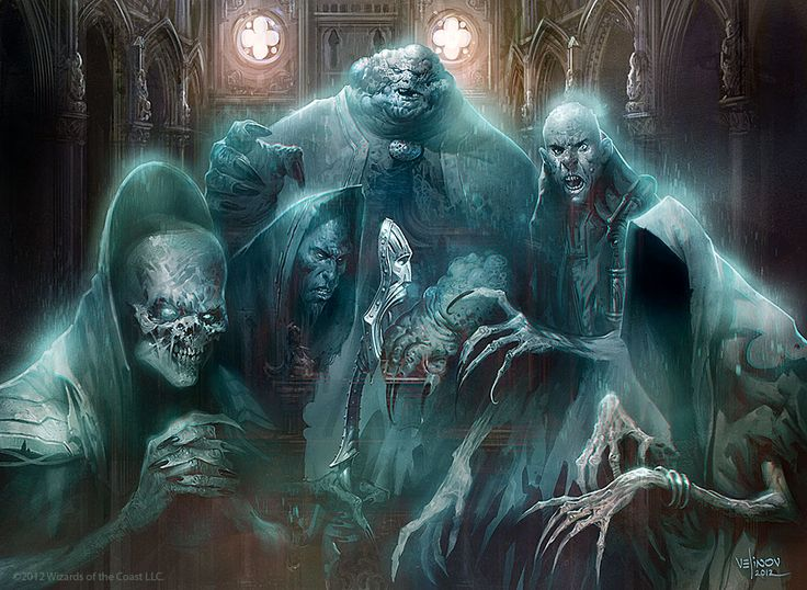 chefdecave:  The Obzedat, the Ghost Council.The Orzhov guild is ruled by the Obzedat, a council of ghostly autocrats who have maintained their wealth and power even as they've shed their mortal forms. Members of the Obzedat are called the Deathless, as they have managed to cheat mortality, maintaining their consciousness (and their greed) beyond the threshold of death. Most of the Deathless appear as morbidly obese high priests or nobles, but sickly, pale, and ghostly in form. They are as…