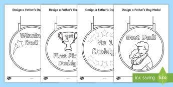 Father's Day Medal Colouring Pages - dad, father, daddy, colouring, actviity, gift, activities,