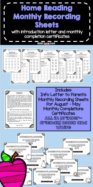 Monthly Home Reading Recording Sheets and Certificates