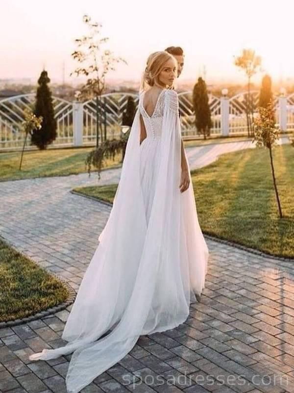 Unique Design beaded Beach Long Wedding Dresses Online, Cheap Bridal Dresses, WD529