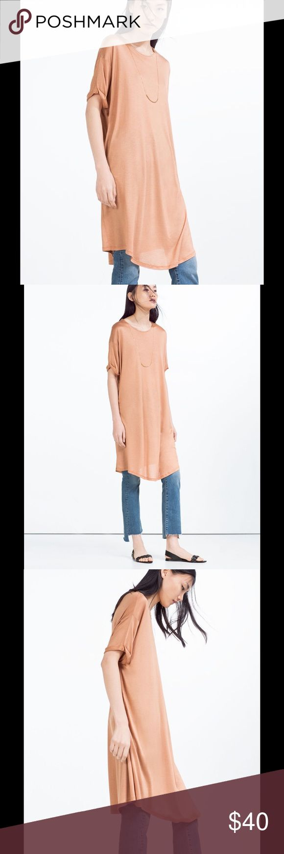Zara Woman Blush Nude Long T-Shirt With Necklace Absolutely beautiful casual dress. Can be worn alone, with leggings, or jeans. Necklace is attached to dress. Excellent condition! Zara Dresses