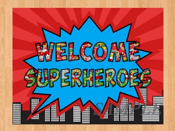 Classroom Decor Superhero ~ Superheroes birthday door sign by