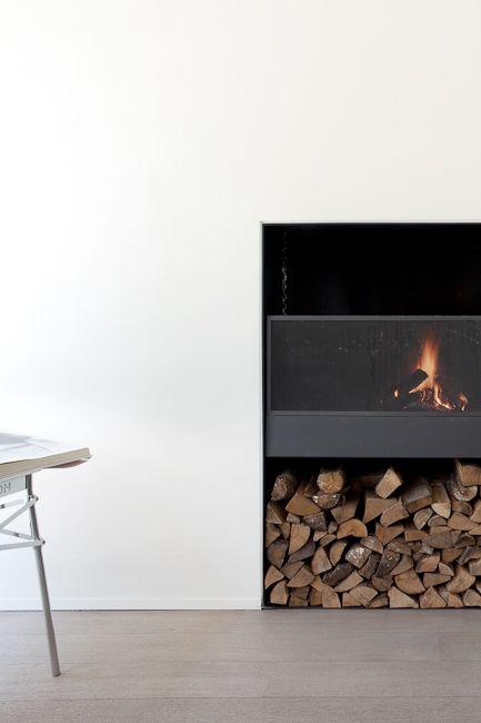 Minimal fireplace.