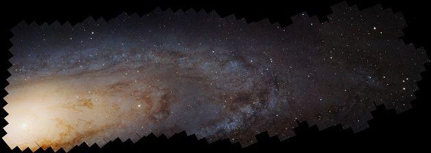 Una vista panoramica e in HD di Andromeda ripresa da Hubble. La foto si ingrandisce <a href=http://www.focus.it/site_stored/imgs/0004/012/andromeda-m31.jpg target=_blank></a>cliccando qui, oppure è navigabile in versione zoomabile, dal <a href=http://hubblesite.org/newscenter/archive/releases/2015/02/image/b/format/zoom/ target=_blank>sito di Hubble</a>.