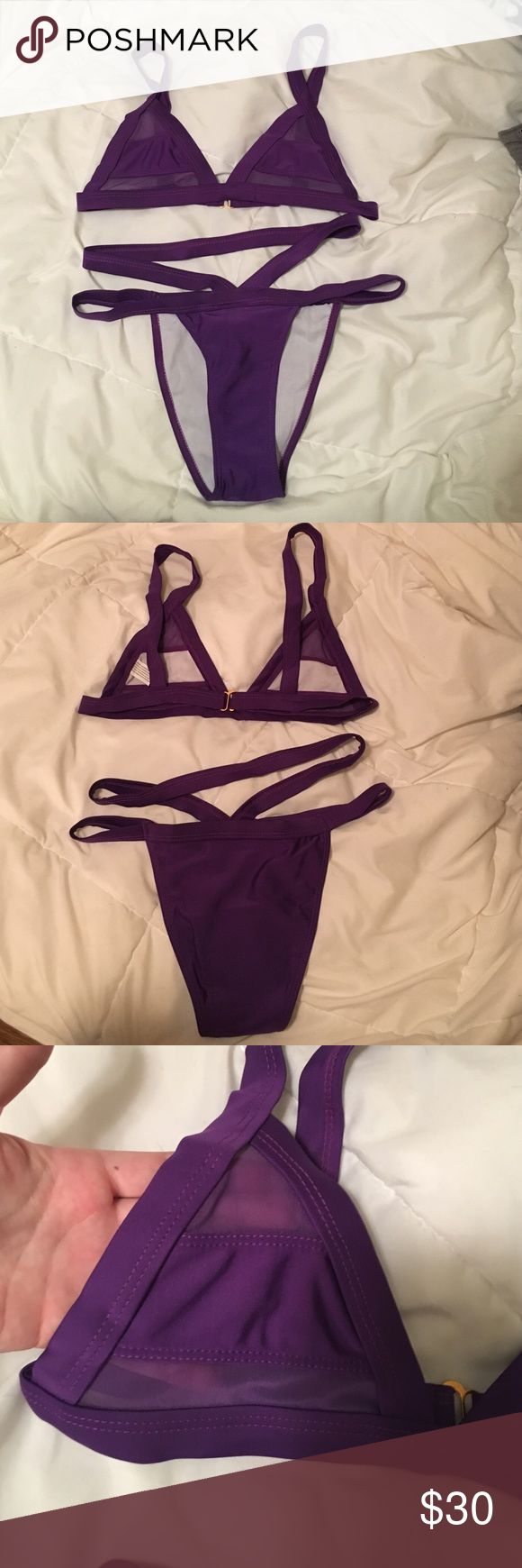 Mesh cut out purple high waisted bikini Never worn, brand new, bright purple high waisted bikini. Top features mesh cut outs and a gold clasp. Adorable bathing suit! Swim Bikinis