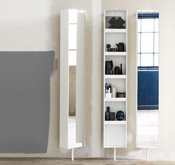 HideAway är en snygg helkroppsspegel för badrummet. Dessutom har du effektiv förvaring på baksidan av det vridbara skåpet.Badrumsförvaring HideAway   Ballingslöv