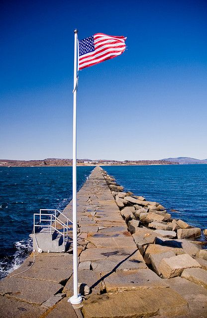 Old Glory and a Breakwater - Owls Head, Maine