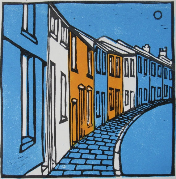 Wind Street, Aberdare. Linocut. £25.00, via Etsy. willowarch