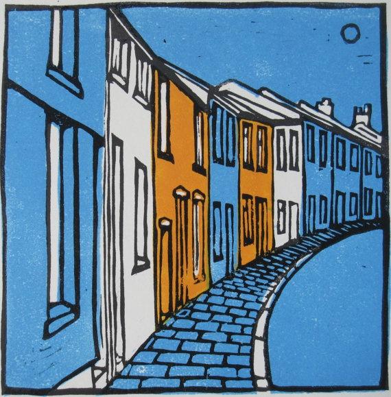 #linocut #illustration #street #cityblock