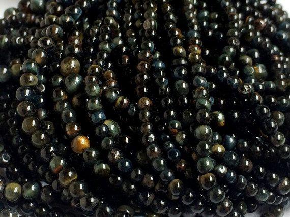 Black Tigers Eye Beads Black Tiger Rondelles by gemsforjewels