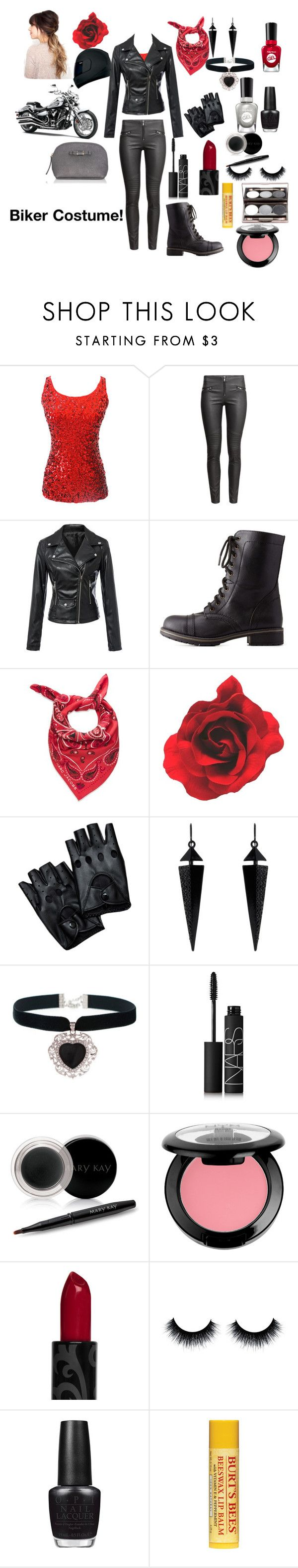 """#Biker Costume! #Halloween"" by joyfulsoul20 ❤ liked on Polyvore featuring H&M, Charlotte Russe, Marc by Marc Jacobs, Oasis, Rock 'N Rose, NARS Cosmetics, Mary Kay, NYX, OPI and Sally Hansen"