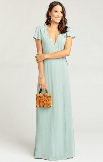 502f87e5ced Noelle Flutter Sleeve Wrap Dress ~ Silver Sage Crisp