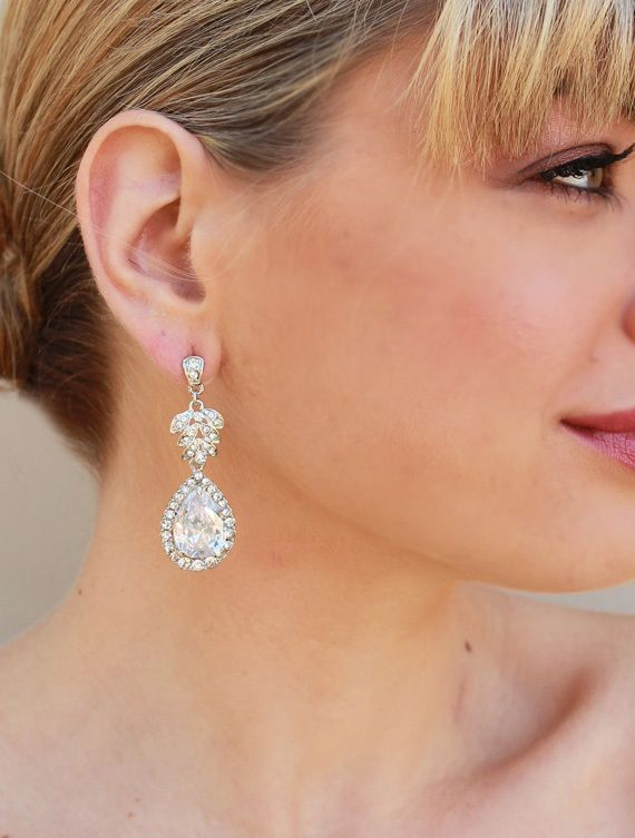 Hair Comes the Bride - Vintage Rhinestone Drop Bridal Earrings ~ Amber, $51.00 (http://www.haircomesthebride.com/vintage-rhinestone-drop-bridal-earrings-amber/)
