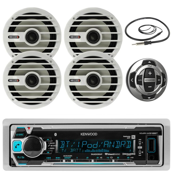 """New Kenwood In Dash Marine Boat Yacht Bluetooth Digital USB AUX iPod iPhone AM/FM Radio Stereo Player & Kenwood KCA-RC35MR Wired Remote Control for Kenwod Marine Stereo With 4 X 6.5"""" Inch MB Quart Marine Audio Stereo Speakers System And Enrock Marine 45"""" Antenna - Marine Audio Package"""