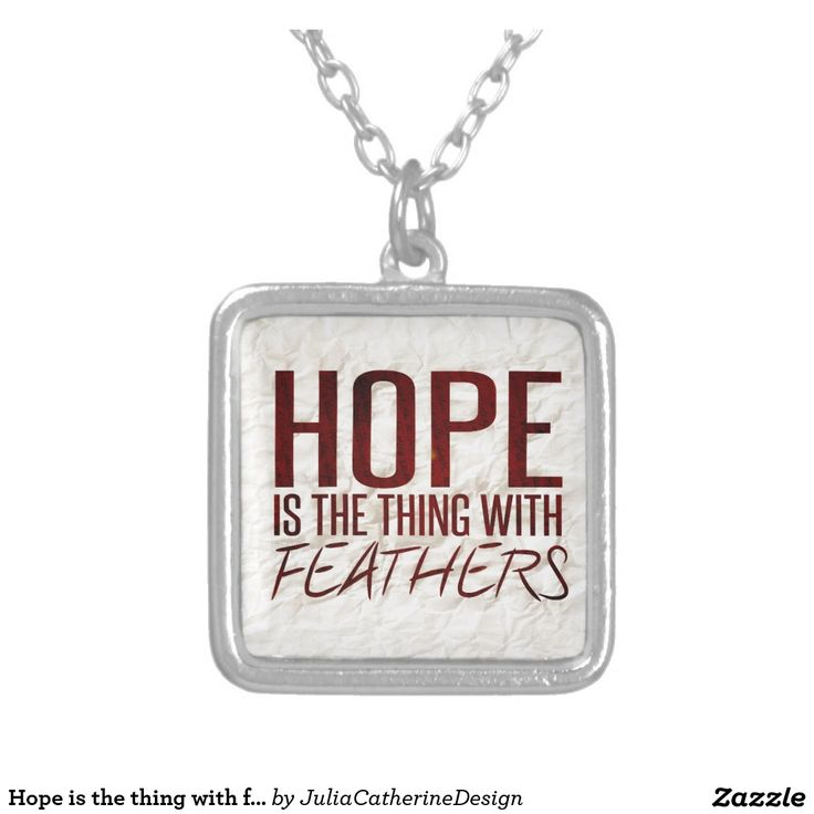 Hope is the thing with feathers square pendant necklace