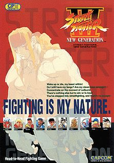 "Street Fighter III (Capcom); The game, which was designed as a direct sequel to Street Fighter II, initially discarded every previous character except for Ryu & Ken (hence the ""New Generation"" subtitle), introducing an all new character roster led by Alex. a new antagonist named Gill took over M. Bison's role from the previous games as the new boss character. A new feature in the game is Super Arts. A Super Art is a powerful special move similar to a Super Combo in SF Super Turbo & Alpha…"
