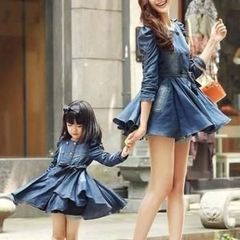 Mommy and Me Ruched Sleeves Ruffle Bottom Denim Dress