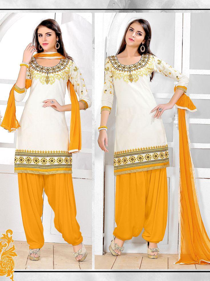 Off White Cotton Patiala Suit 66339
