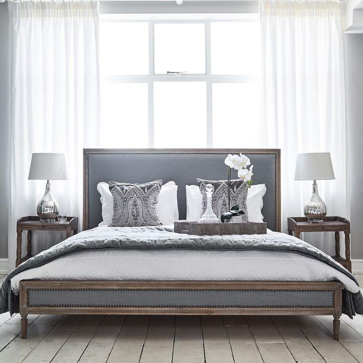 Boston Bed - Super King Size Grey Linen