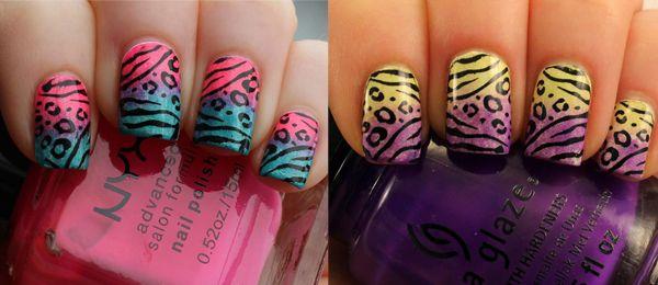 Neon Sponge Gradient Animal Print Nails