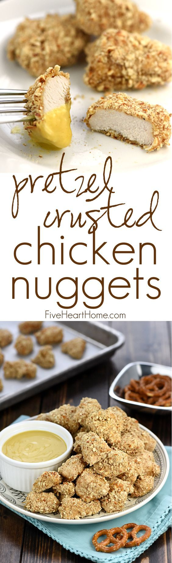 Pretzel-Crusted Chicken Nuggets with Honey Mustard Dipping Sauce ~ tender, juicy nuggets are baked to perfection and served with a lightened-up, Greek yogurt-based sauce for a simple, yummy, family-pleasing dinner! | FiveHeartHome.com: