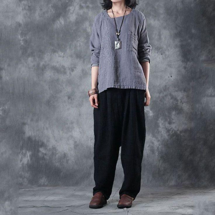 Handmade Embroidery Linen Ladies Shirt Oversized Gray Blouse    #shirt #oversize #gray #blouse #handmade #fashion #style #amazing
