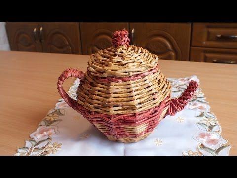 Плетение из газет Чайник weaving newspapers periódicos de tejer - YouTube